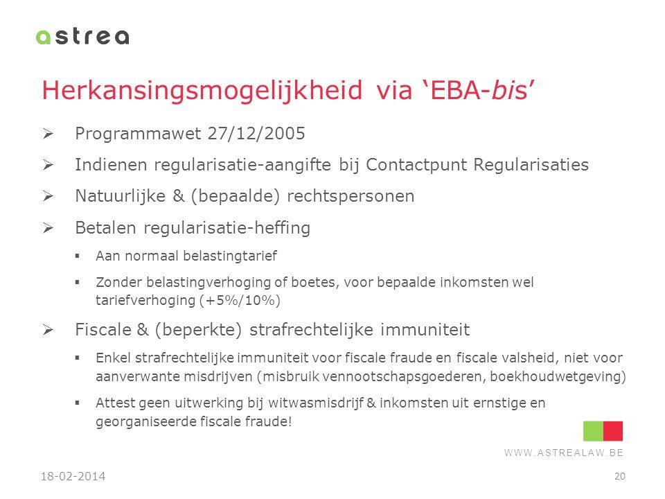 Herkansingsmogelijkheid via 'EBA-bis'