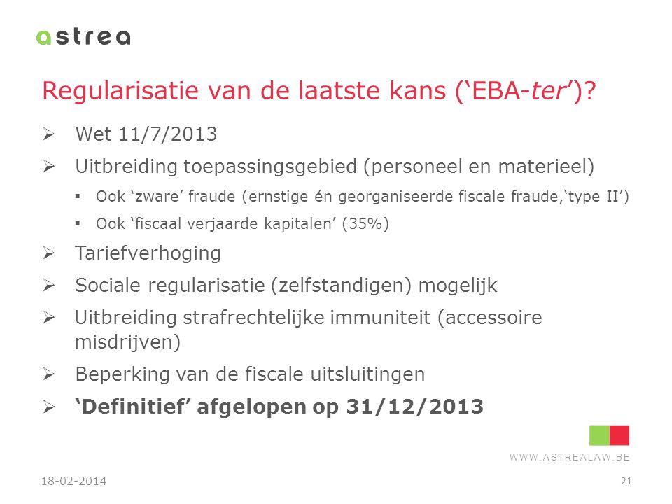 Regularisatie van de laatste kans ('EBA-ter')