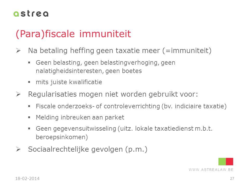 (Para)fiscale immuniteit