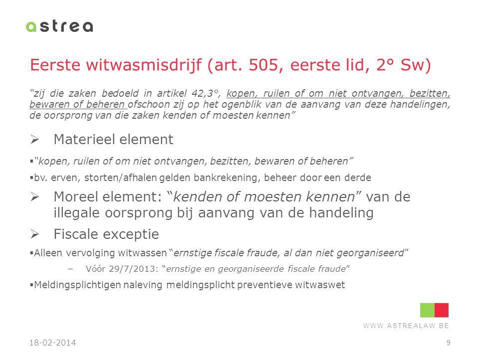 Eerste witwasmisdrijf (art. 505, eerste lid, 2° Sw)