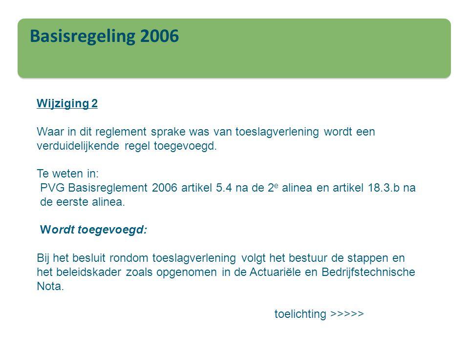 Basisregeling 2006 Wijziging 2