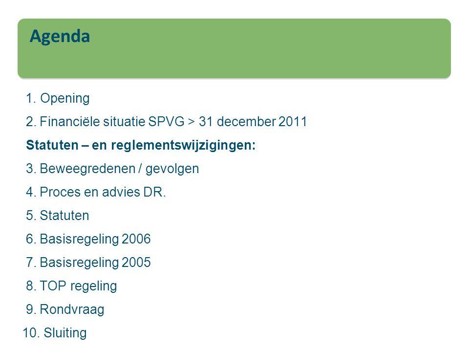 Agenda 1. Opening 2. Financiële situatie SPVG > 31 december 2011