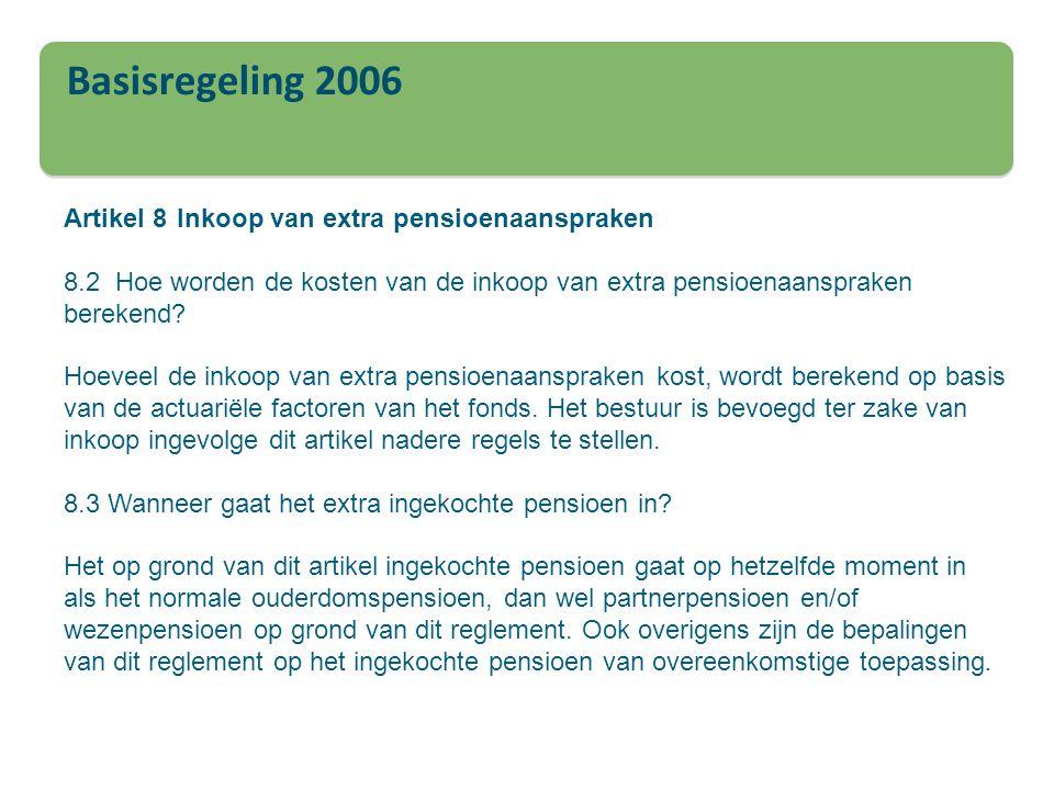 Basisregeling 2006 Artikel 8 Inkoop van extra pensioenaanspraken