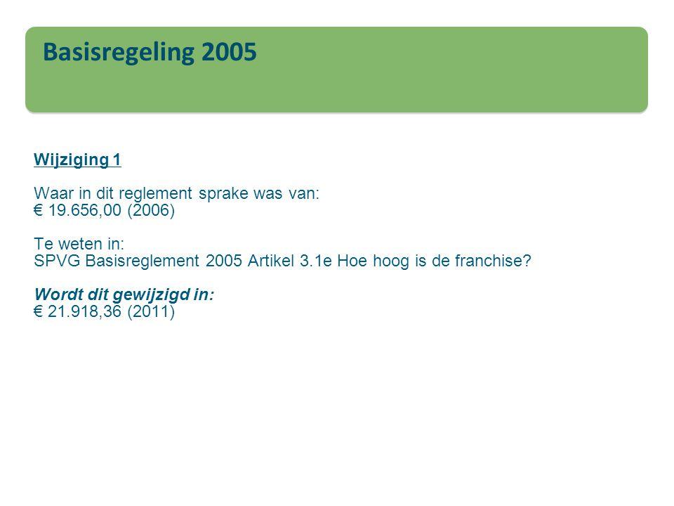 Wijziging 1 Waar in dit reglement sprake was van: € 19
