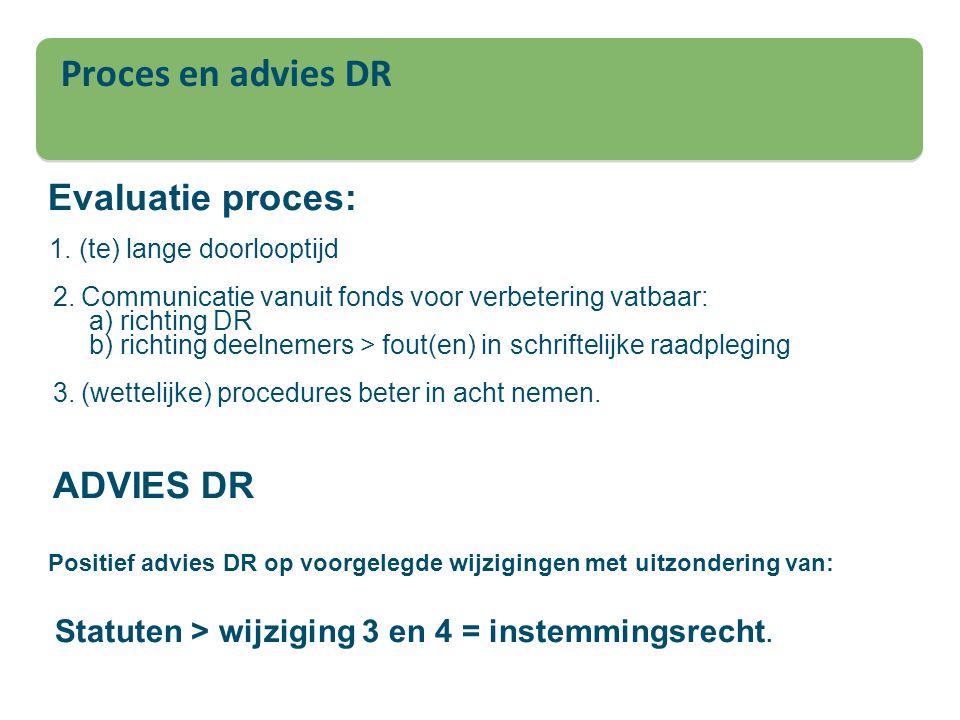 Proces en advies DR 1. (te) lange doorlooptijd