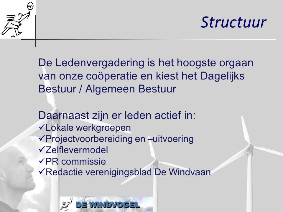 Structuur De Ledenvergadering is het hoogste orgaan van onze coöperatie en kiest het Dagelijks Bestuur / Algemeen Bestuur.