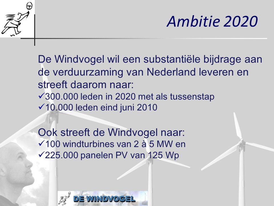 Ambitie 2020 De Windvogel wil een substantiële bijdrage aan de verduurzaming van Nederland leveren en streeft daarom naar:
