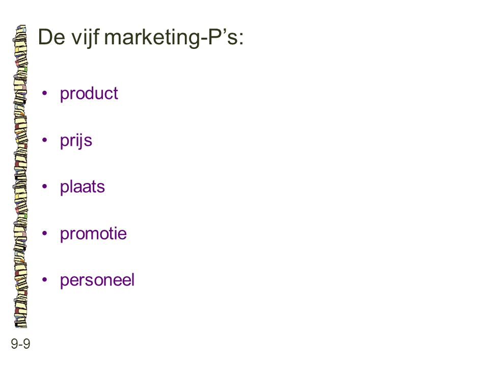 De vijf marketing-P's: