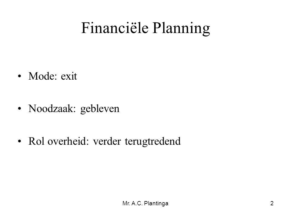 Financiële Planning Mode: exit Noodzaak: gebleven