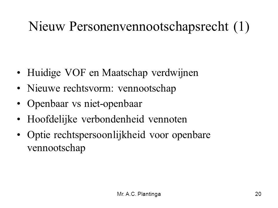 Nieuw Personenvennootschapsrecht (1)