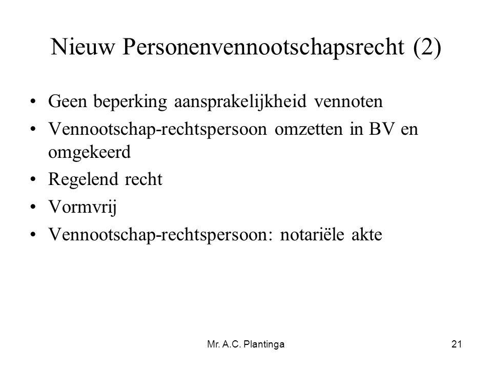 Nieuw Personenvennootschapsrecht (2)