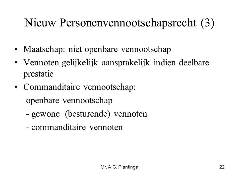 Nieuw Personenvennootschapsrecht (3)