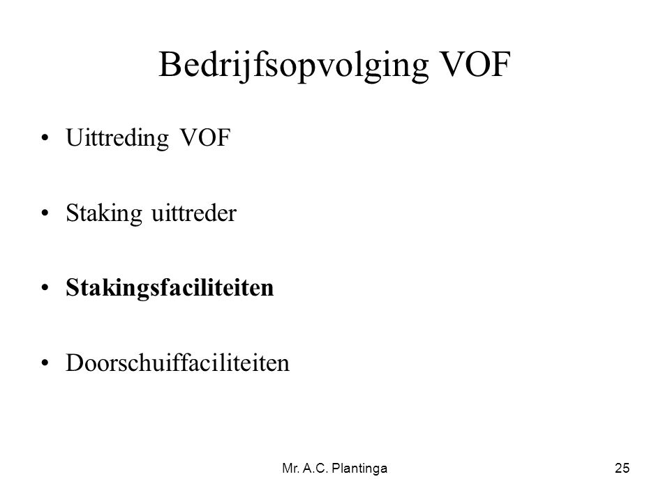 Bedrijfsopvolging VOF