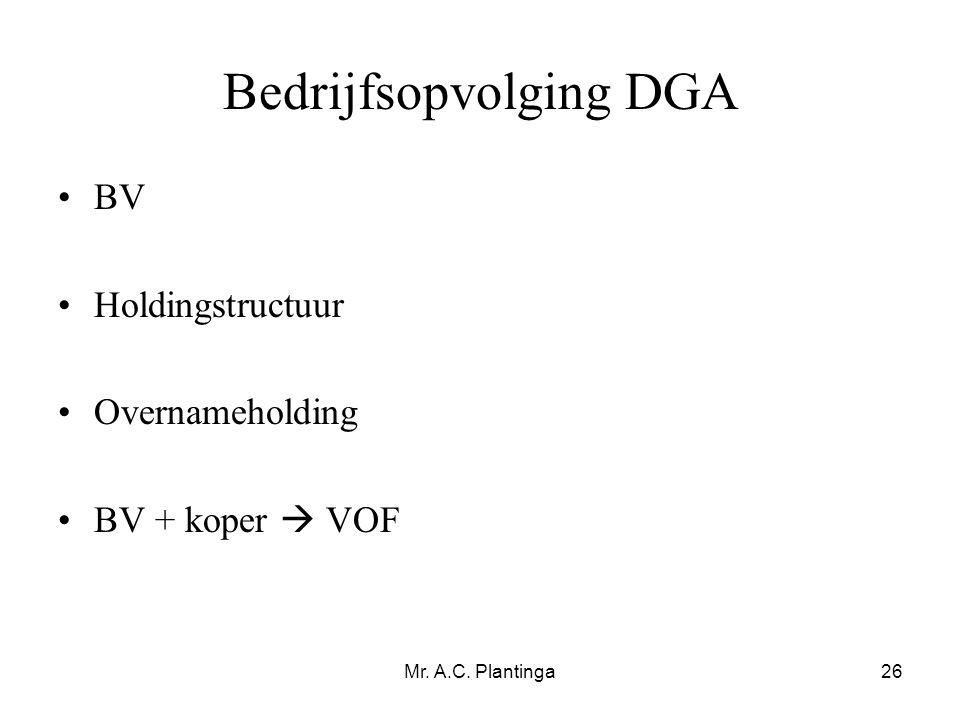 Bedrijfsopvolging DGA