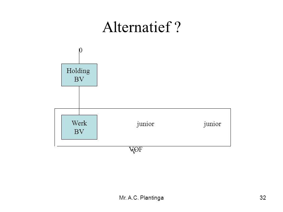 Alternatief Holding BV Werk BV junior junior VOF V