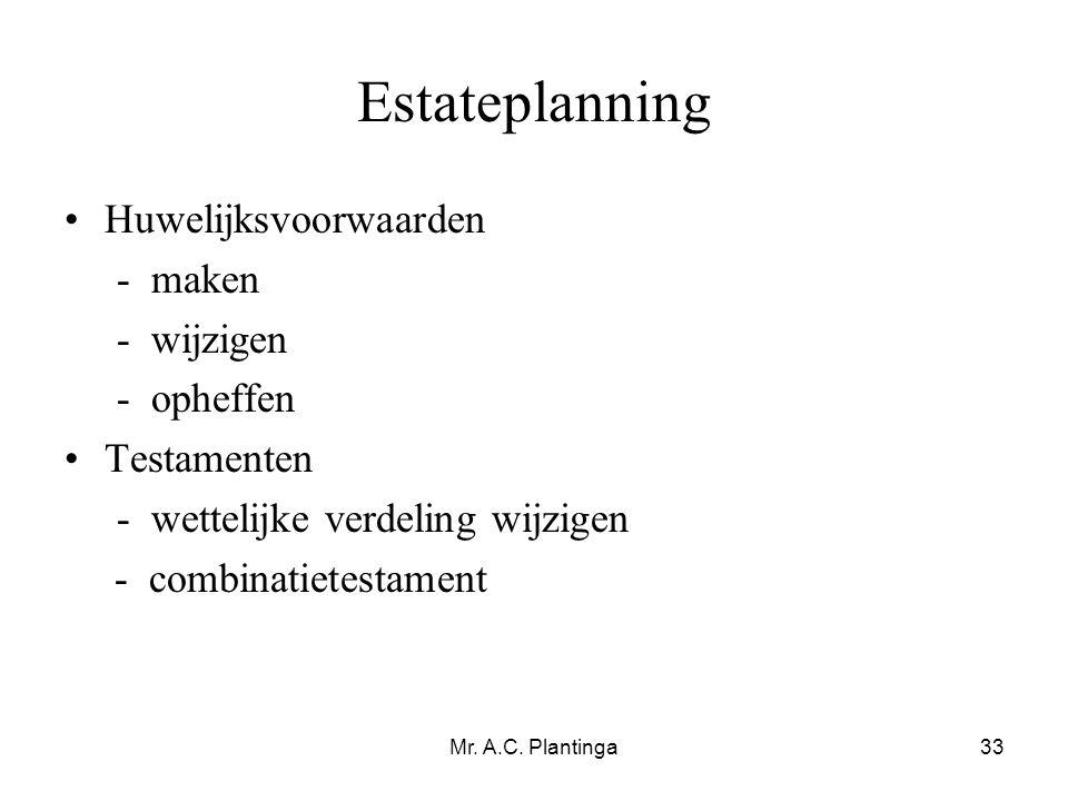 Estateplanning Huwelijksvoorwaarden - maken - wijzigen - opheffen