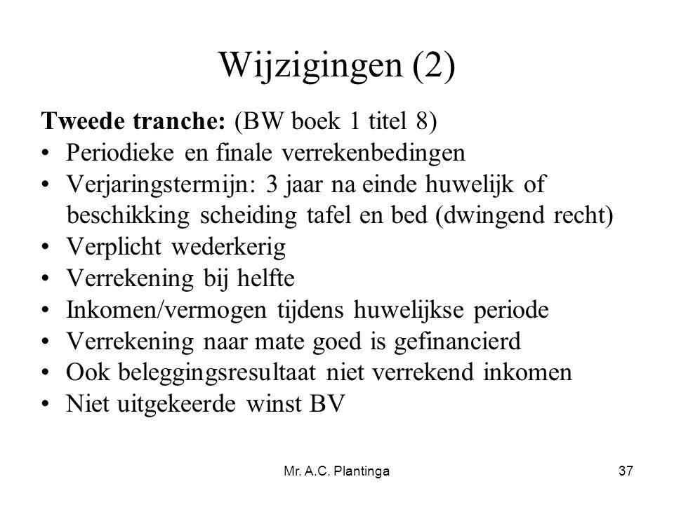 Wijzigingen (2) Tweede tranche: (BW boek 1 titel 8)