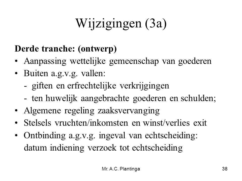 Wijzigingen (3a) Derde tranche: (ontwerp)