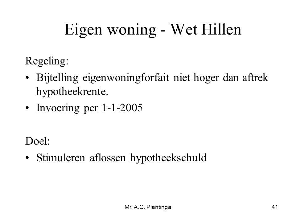 Eigen woning - Wet Hillen