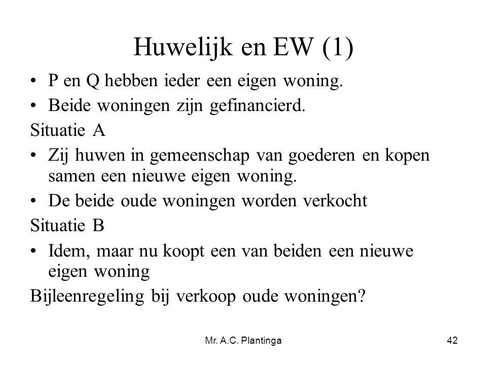 Huwelijk en EW (1) P en Q hebben ieder een eigen woning.