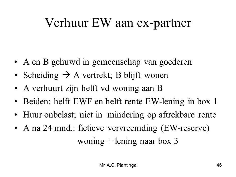 Verhuur EW aan ex-partner