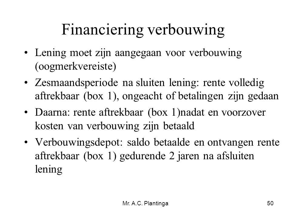 Financiering verbouwing