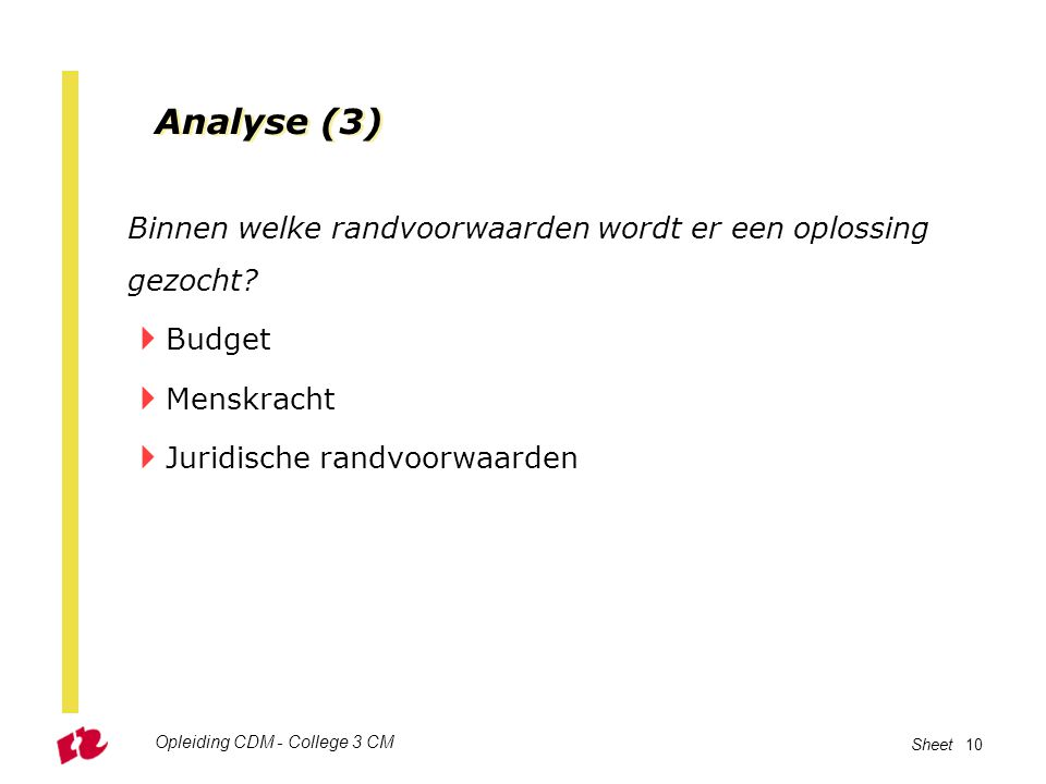 Analyse (3) Binnen welke randvoorwaarden wordt er een oplossing gezocht Budget. Menskracht. Juridische randvoorwaarden.