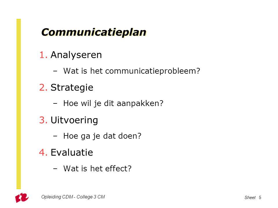 Communicatieplan Analyseren Strategie Uitvoering Evaluatie