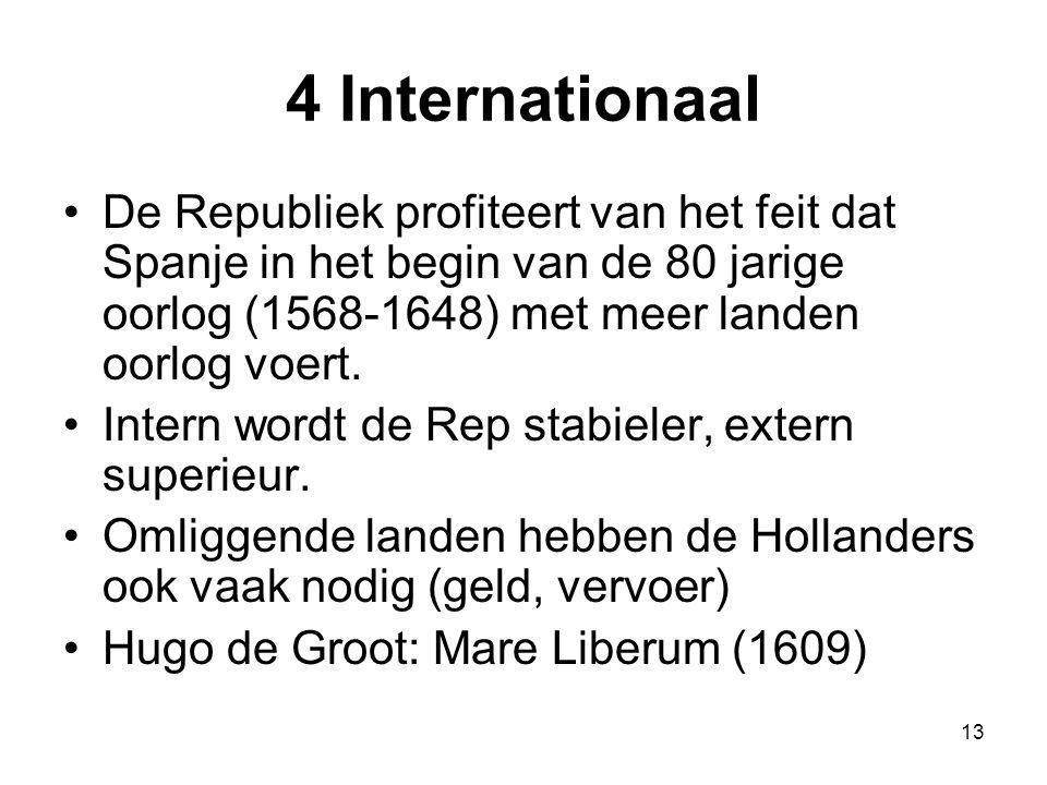 4 Internationaal De Republiek profiteert van het feit dat Spanje in het begin van de 80 jarige oorlog (1568-1648) met meer landen oorlog voert.