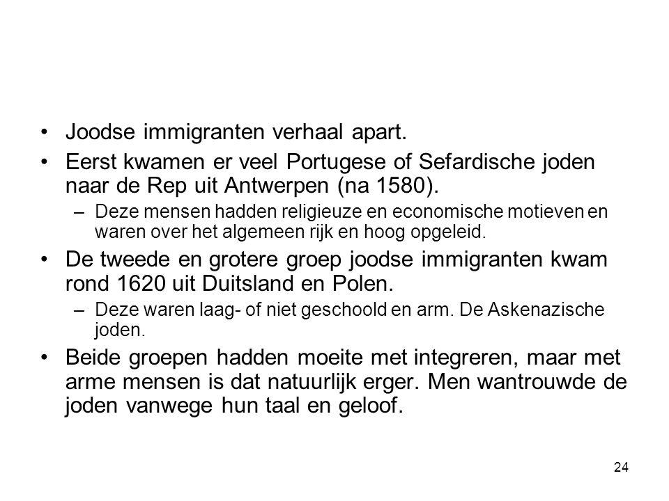 Joodse immigranten verhaal apart.