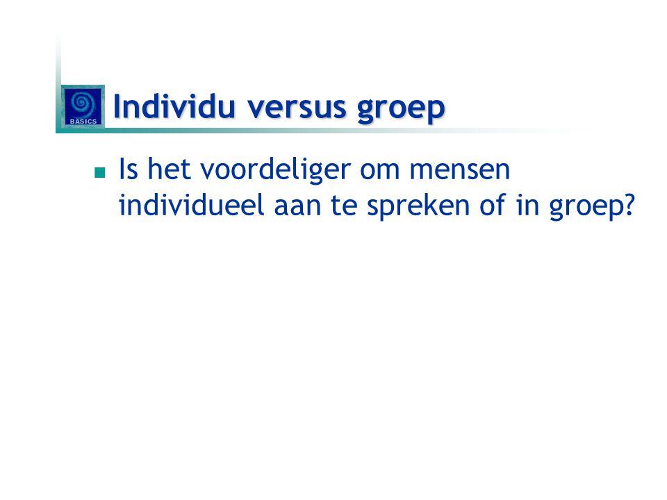 Individu versus groep Is het voordeliger om mensen individueel aan te spreken of in groep Telkens voor en nadelen.