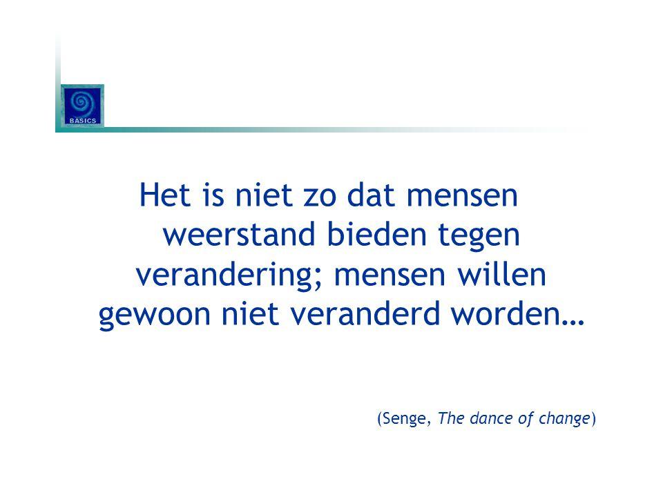 Het is niet zo dat mensen weerstand bieden tegen verandering; mensen willen gewoon niet veranderd worden…