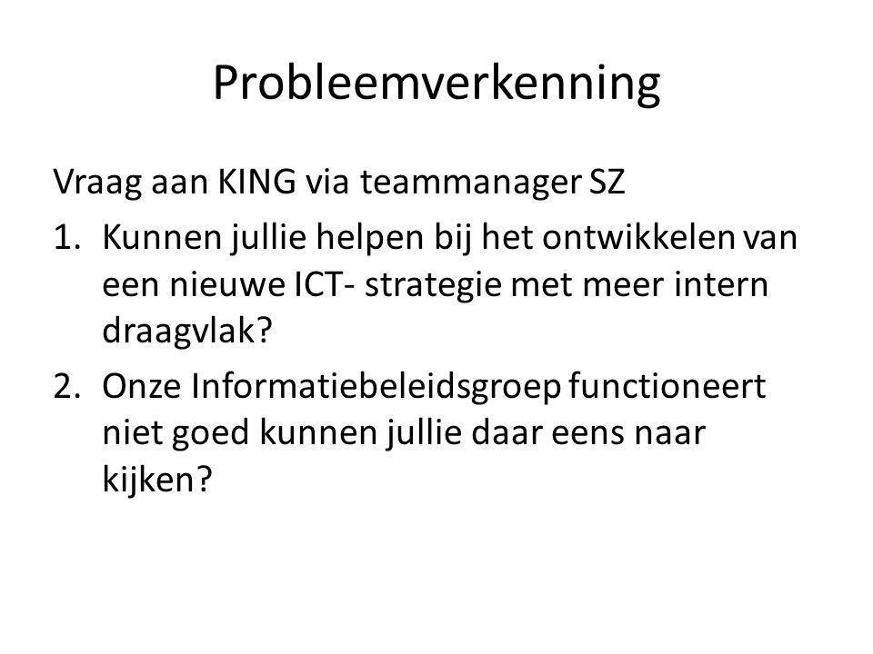 Probleemverkenning Vraag aan KING via teammanager SZ