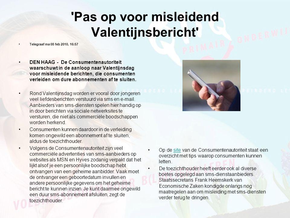 Pas op voor misleidend Valentijnsbericht