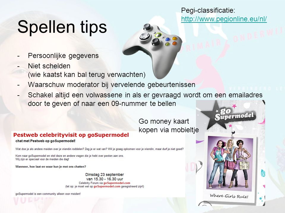 Spellen tips Pegi-classificatie: http://www.pegionline.eu/nl/