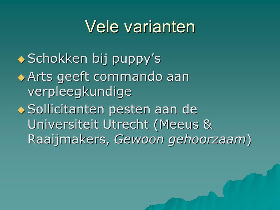 Vele varianten Schokken bij puppy's