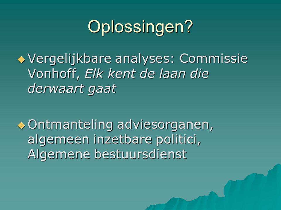 Oplossingen Vergelijkbare analyses: Commissie Vonhoff, Elk kent de laan die derwaart gaat.