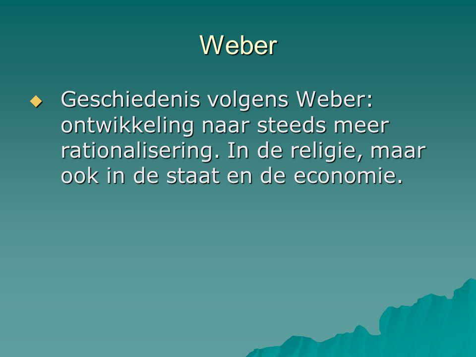 Weber Geschiedenis volgens Weber: ontwikkeling naar steeds meer rationalisering.
