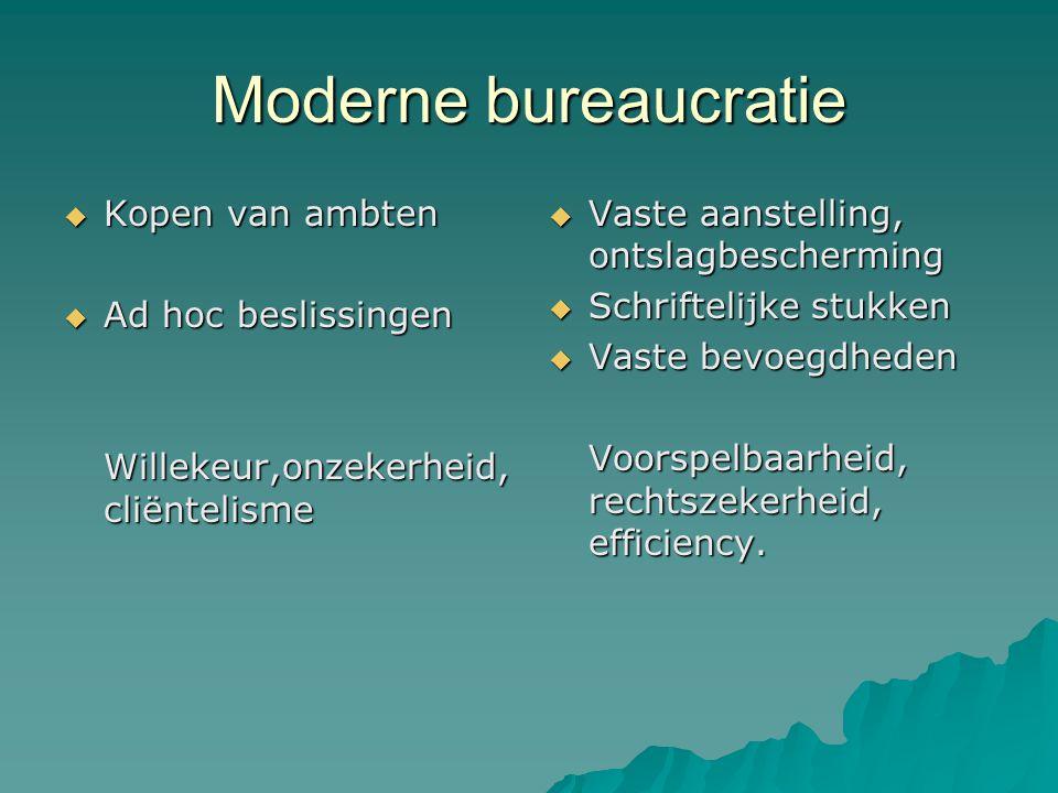 Moderne bureaucratie Kopen van ambten Ad hoc beslissingen