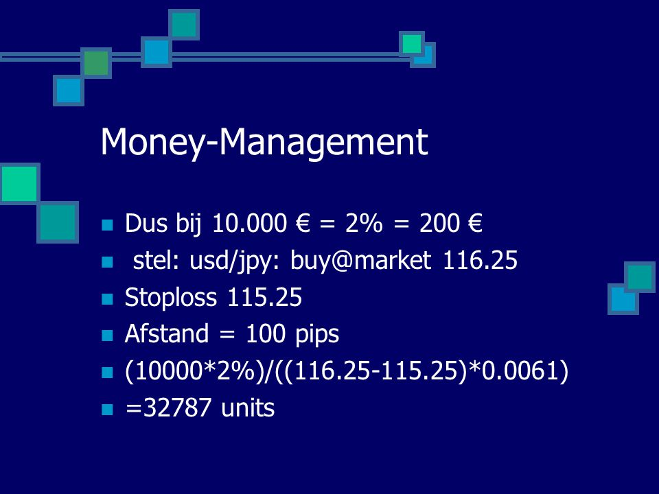 Money-Management Dus bij 10.000 € = 2% = 200 €