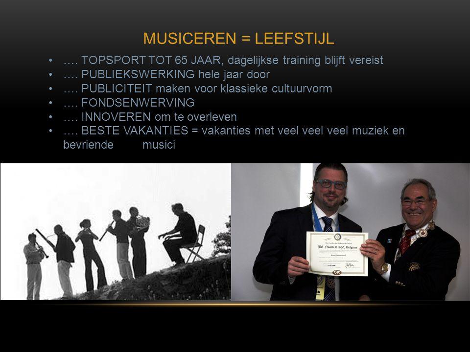 MUSICEREN = LEEFSTIJL …. TOPSPORT TOT 65 JAAR, dagelijkse training blijft vereist. …. PUBLIEKSWERKING hele jaar door.