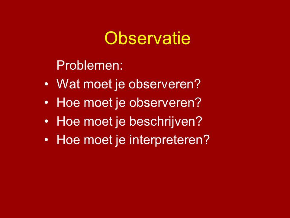 Observatie Problemen: Wat moet je observeren Hoe moet je observeren