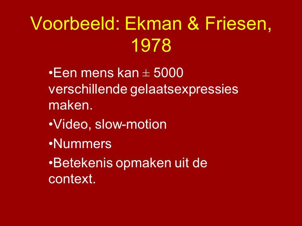 Voorbeeld: Ekman & Friesen, 1978