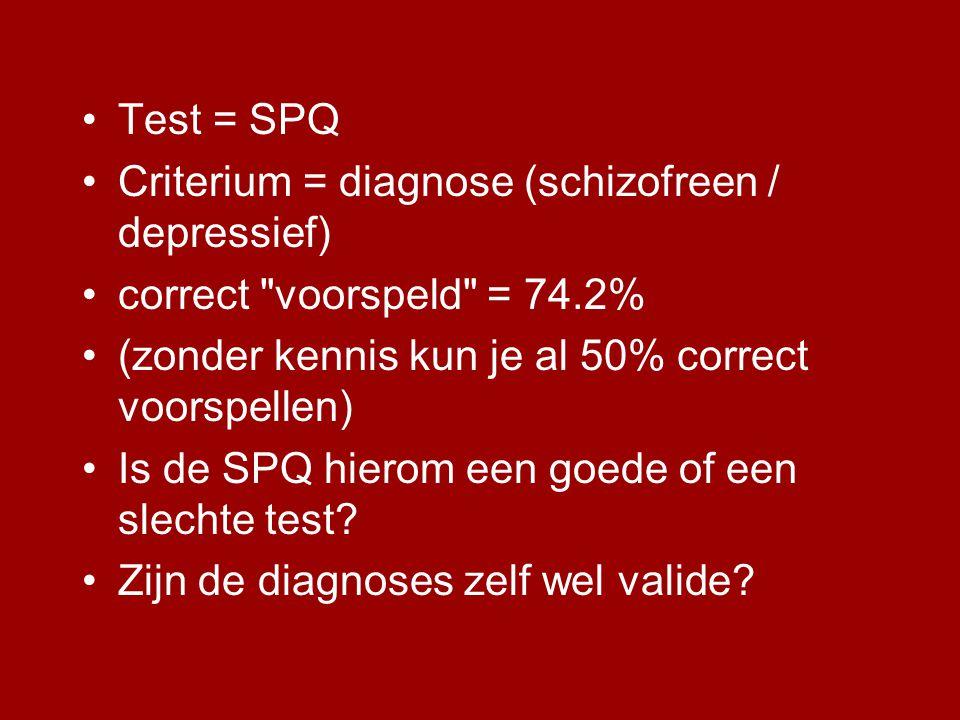 Test = SPQ Criterium = diagnose (schizofreen / depressief) correct voorspeld = 74.2% (zonder kennis kun je al 50% correct voorspellen)