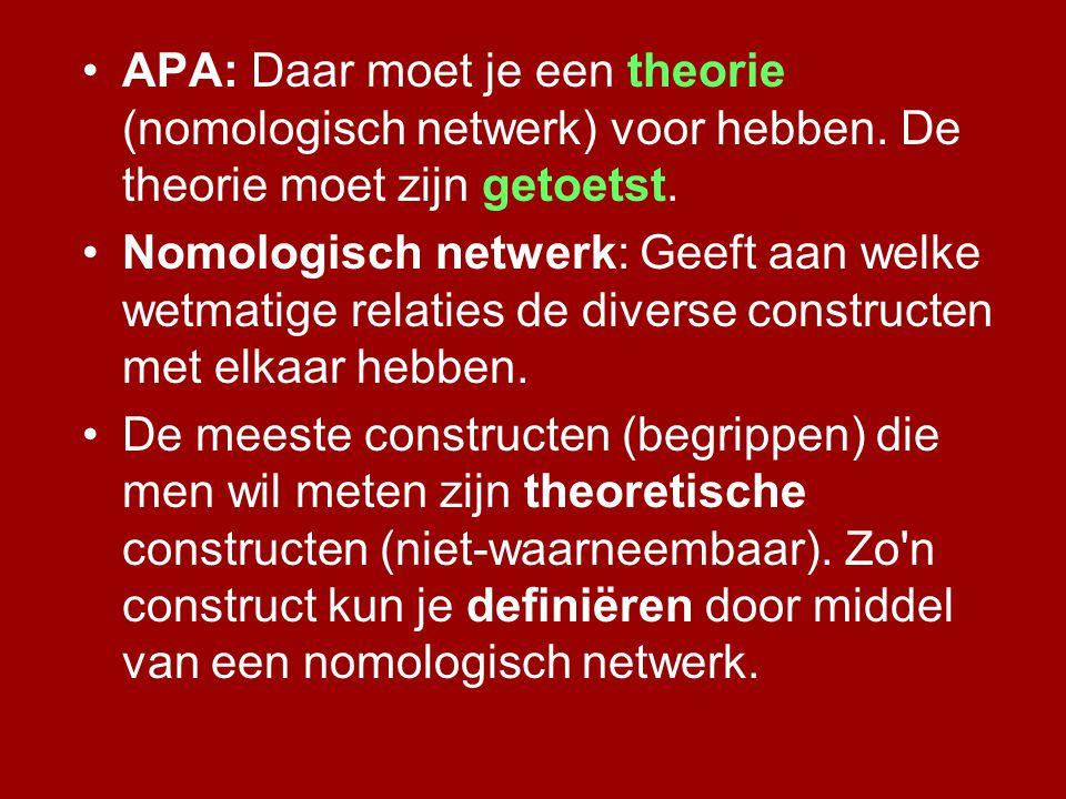 APA: Daar moet je een theorie (nomologisch netwerk) voor hebben