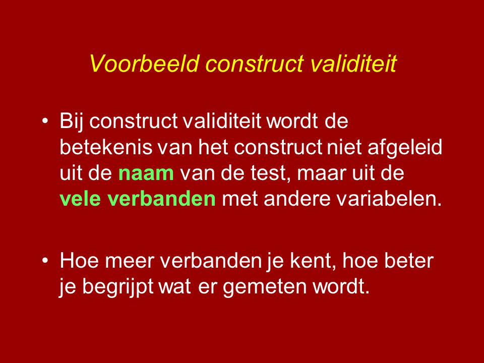 Voorbeeld construct validiteit