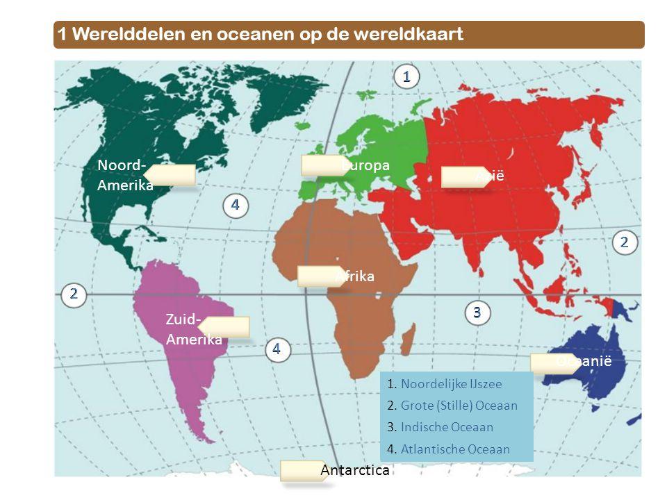 1 Werelddelen en oceanen op de wereldkaart