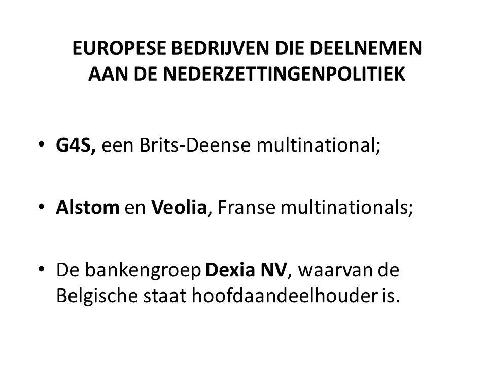 EUROPESE BEDRIJVEN DIE DEELNEMEN AAN DE NEDERZETTINGENPOLITIEK