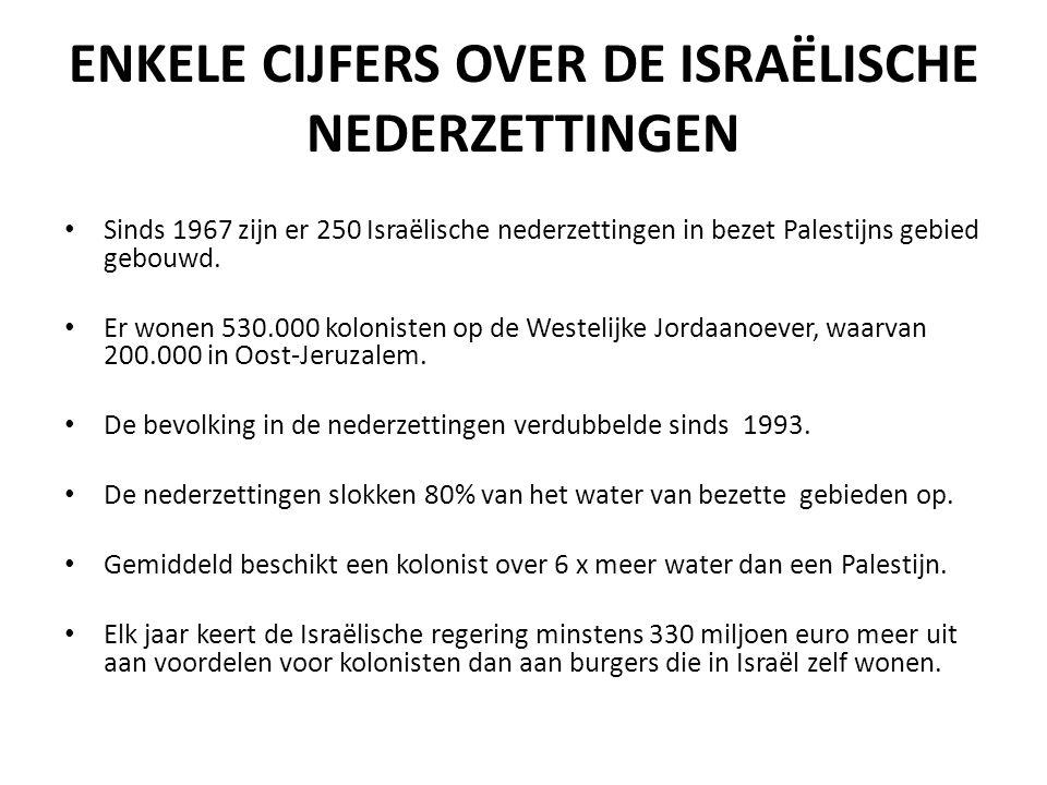ENKELE CIJFERS OVER DE ISRAËLISCHE NEDERZETTINGEN