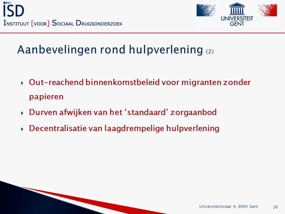 Aanbevelingen rond hulpverlening (2)